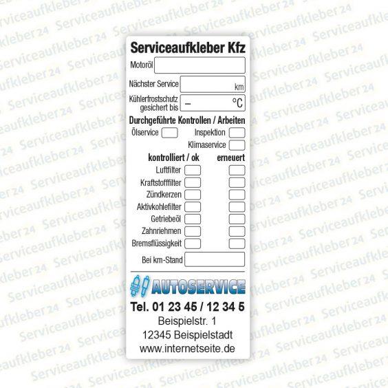 Bild von Serviceaufkleber für Kfz aus Kunststoff-Folie mit Firmenlogo und Kontaktdaten für Autowerkstätten
