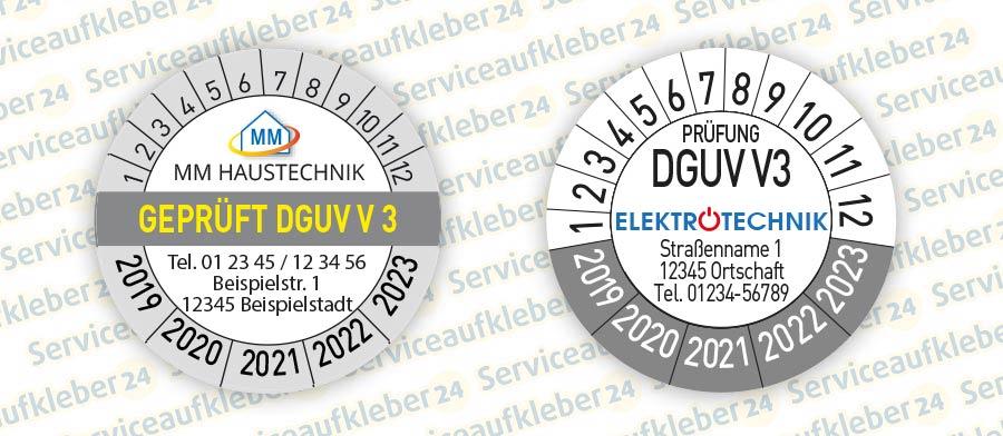 Prüfplaketten Geprüft DGUV V3 mit Firmenlogo in 2 Varianten