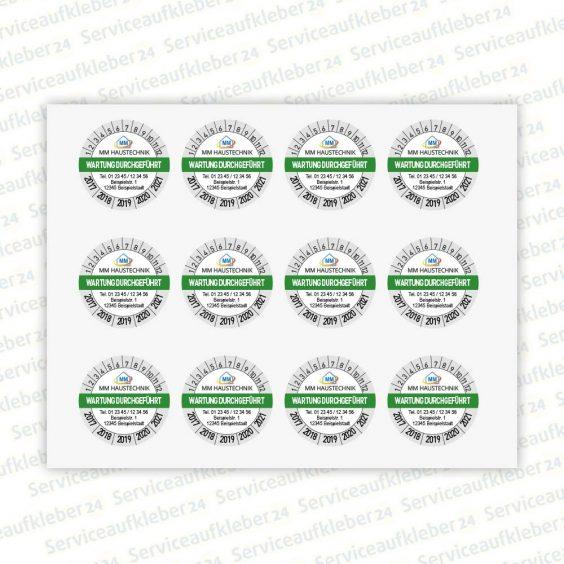 Bild von Prüfplaketten Wartung durchgeführt mit Firmenlogo und Adresse in Farbe auf Bogen