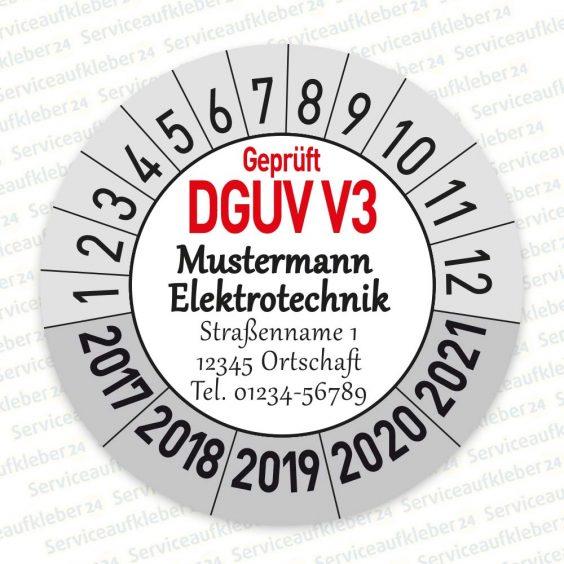 Prüfplaketten geprüft DGUV V3 mit Firmenlogo Variante