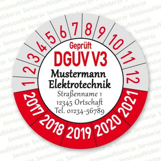 Prüfplaketten geprüft DGUV V5 mit Firmenlogo Variante