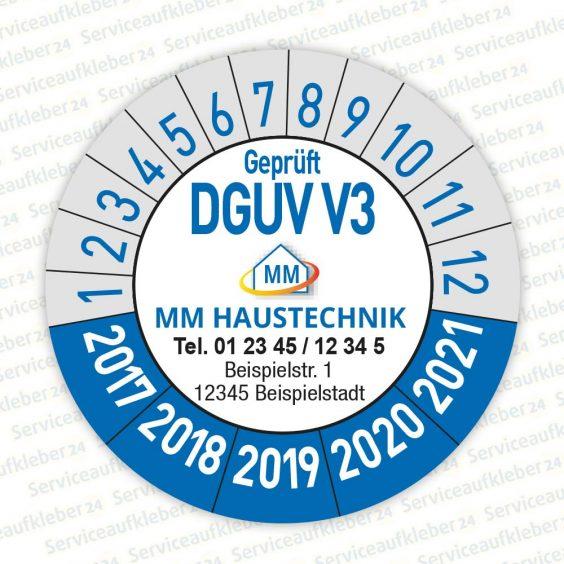 Prüfplaketten geprüft DGUV V4 mit Firmenlogo Variante