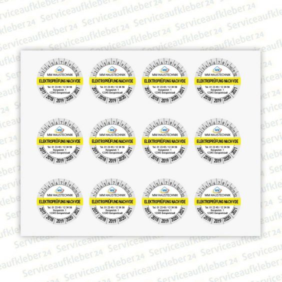 Bild Prüfplaketten Elektroprüfung VDE mit Aufdruck der Firmenadresse und Logo in Farbe 12 Stück auf Bogen