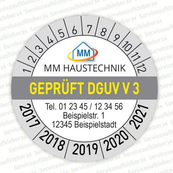 Bild von Prüfplaketten geprüft nach DGUV V3 mit Firmenlogo und Adresse in Farbe