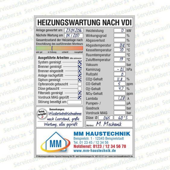 Wartungsaufkleber für Heizungen beschriftet Spezial Firmenaufdruck und Logo