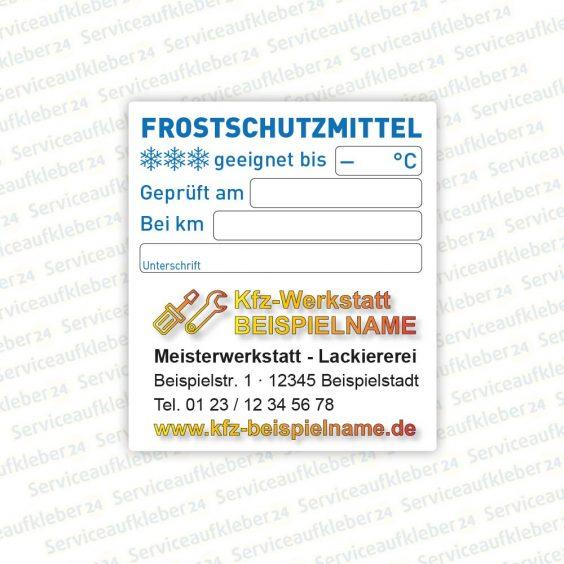Serviceaufkleber Frostschutz für Kfz Kunststoff-Folie mit Firmenlogo