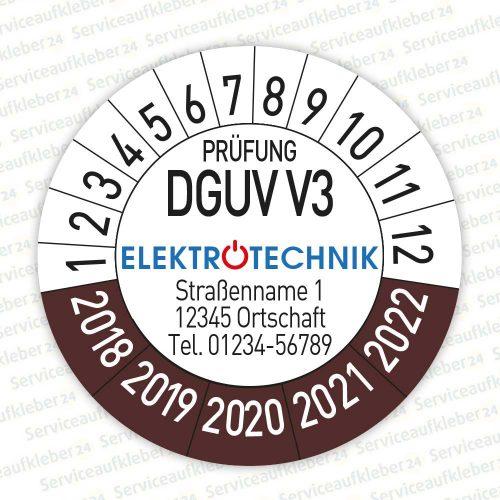 Prüfplaketten geprüft DGUV V3 mit Firmenlogo Variante 2018