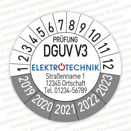 Prüfplaketten geprüft DGUV V3 mit Firmenlogo Variante 2019